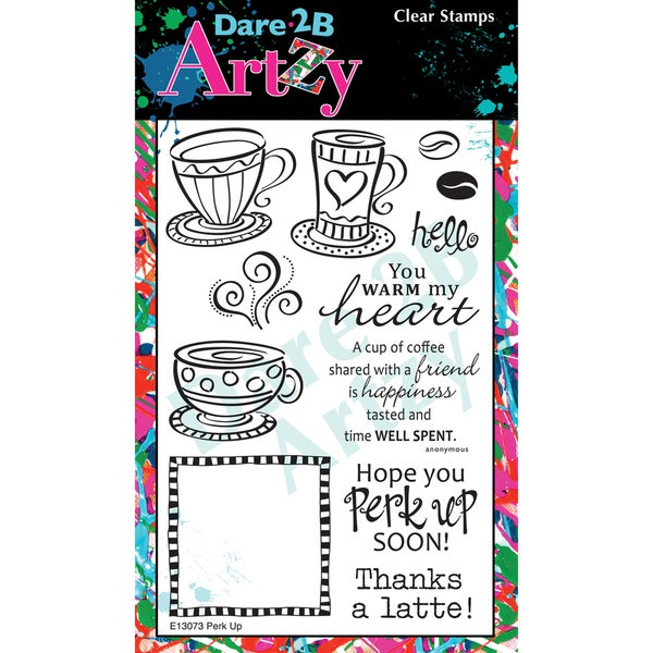 "Dare 2B Artzy Clear Stamps 4""X6"" Sheet-Perk Up"