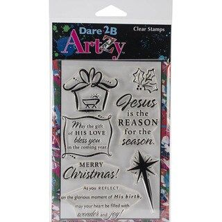 """Dare 2B Artzy Clear Stamps 4""""X6"""" Sheet-Christmas Gift"""