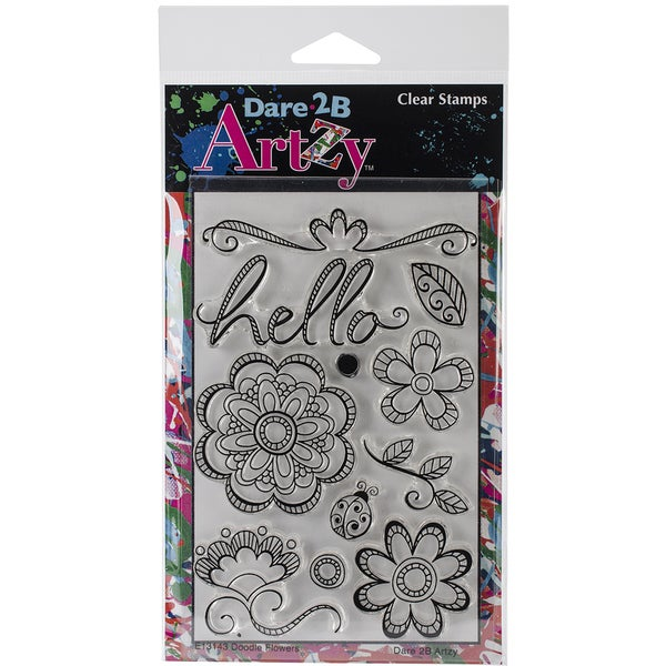 """Dare 2B Artzy Clear Stamps 4""""X6"""" Sheet-Doodle Flower"""
