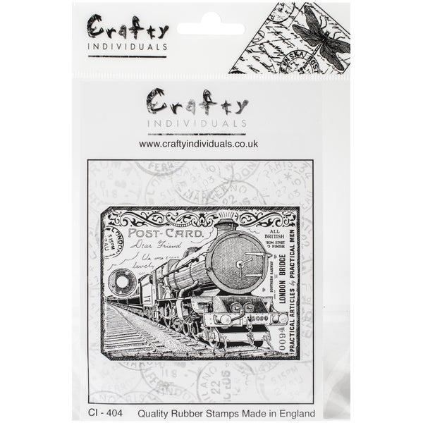 """Crafty Individuals Unmounted Rubber Stamp 4.75""""X7"""" Pkg-Chunky Steam Train Tag"""