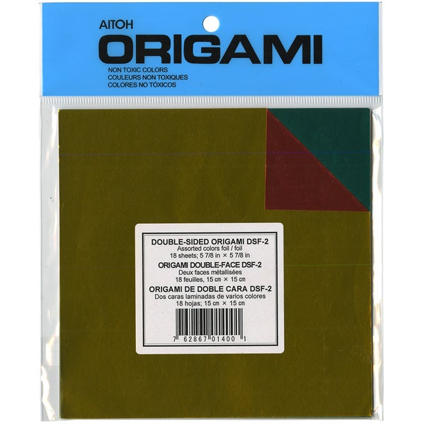 """Origami Paper 5.875""""X5.875"""" 18/Pkg-Assorted Colors Double-Sided Foil"""