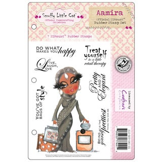 "Scruffy Little Cat Cling Stamp Set 5.5""X8.5""-Aamira"