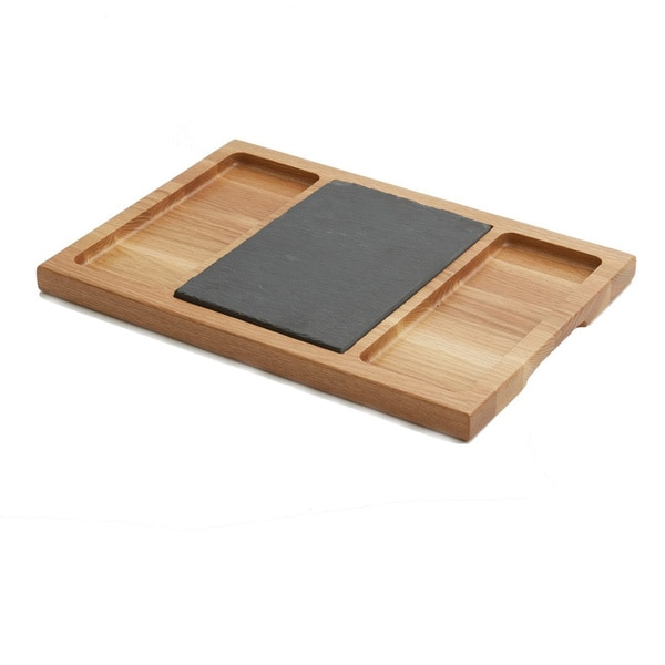 Woodard & Charles WTO492 Oak Wood Slate 15-Inch Cheese Board