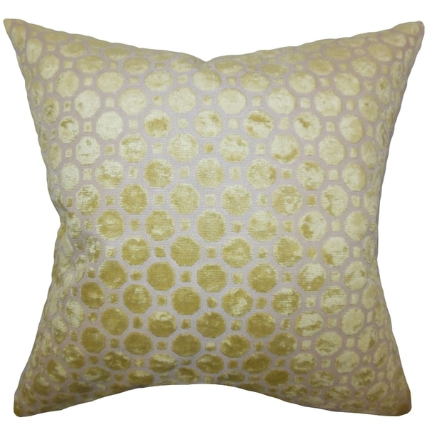 Kostya Citrine Velvet Geometric Feather and Down Filled Pillow
