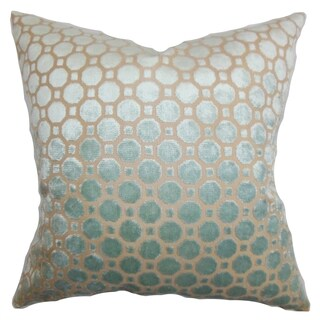 Kostya Light Blue Geometric 18-inch Feather and Down Filled Pillow