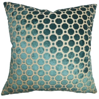 Kostya Turquoise Geometric 18-inch Feather and Down Filled Pillow