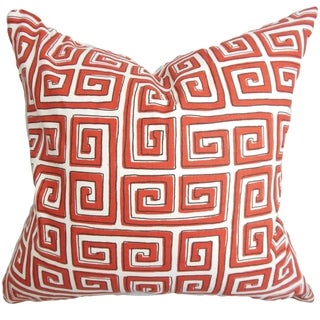 Klemens Red/ White Geometric 18-inch Feather and Down Filled Decorative Throw Pillow