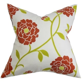 Graziella Red/ Green Floral 18-inch Feather and Down Filled Decorative Pillow