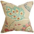 Jora Brown Floral 18-inch Feather and Down Filled Decorative Pillow