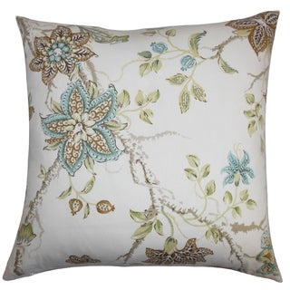 Ululani Green/ Brown Floral 18-inch Feather and Down Filled Decorative Throw Pillow