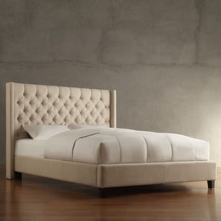 INSPIRE Q Naples Beige Linen Wingback Button Tufted Upholstered King-sized Bed