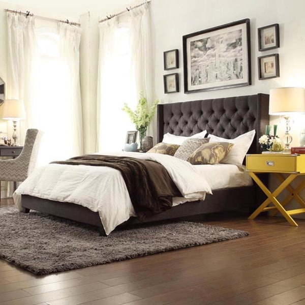 Gray Velvet Button Tufted King Platform Bed : Inspire q naples dark gray linen wingback button tufted