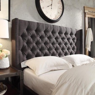 Fabulous  Reviews INSPIRE Q Naples Wingback Button Tufted Upholstered Queen Sized Headboard Store