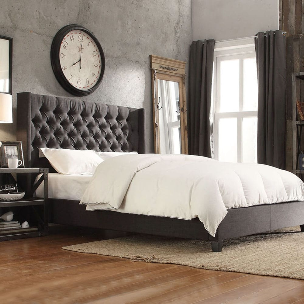 naples dark gray linen wingback button tufted upholstered bed