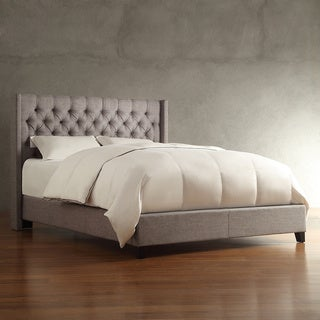 INSPIRE Q Naples Gray Linen Wingback Button Tufted Upholstered Bed
