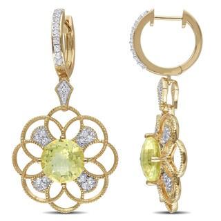 Miadora Yellow Goldplated Silver Lemon Quartz, White Topaz and Diamond Accent Earrings