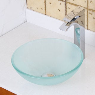 ELITE GD08S Small Frosted Tempered Glass Bathroom Vessel Sink