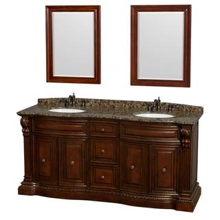 Wyndham Collection Roxbury 72-inch Cherry UM Oval Sink and 24-inch Mirror Double Bathroom Vanity