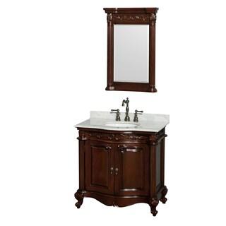 Wyndham Collection Edinburgh 36-inch Cherry Undermount Sink and 24-inch Mirror Single Bathroom Vanity