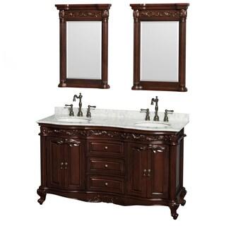 Wyndham Collection Edinburgh 60-inch Cherry Undermount Sink and 24-inch Mirror Double Bathroom Vanity