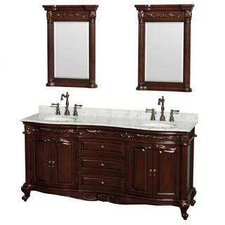Wyndham Collection Edinburgh 72-inch Cherry Undermount Sink and 24-inch Mirror Double Bathroom Vanity