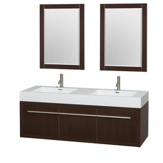 Wyndham Collection Axa 60-inch Acrylic ResTop Int. Sink and 24-inch Mirror Double Bathroom Vanity