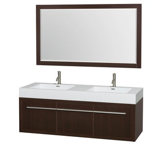 Wyndham Collection Axa 60-inch Acrylic ResTop Int. Sink and 58-inch Mirror Double Bathroom Vanity