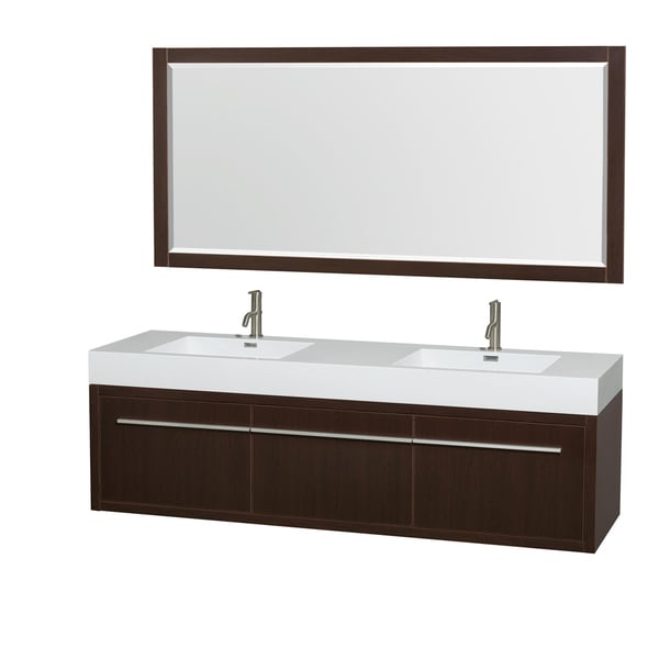 Wyndham collection axa 72 inch acrylic restop int sink and 70 inch mirror double bathroom for 70 inch bathroom double vanity