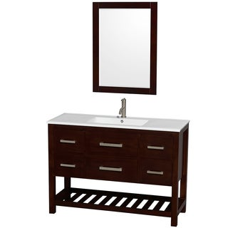 Wyndham Collection Natalie 48-inch White PorcelaTop Int. Sink and 24-inch Mirror Single Bathroom Vanity