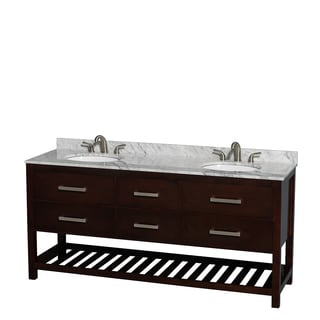 Wyndham Collection Natalie 72-inch Espresso UM Oval Sink Double Bathroom Vanity