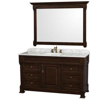 Wyndham Collection Andover 60-inch Dark Cherry UM Round Sink 56-inch Mirror Single Bathroom Vanity