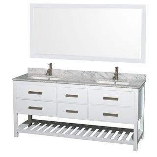 Wyndham Collection Natalie 72-inch White UM Square Sink and 70-inch Mirror Double Bathroom Vanity