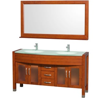 Wyndham Collection Daytona 60-inch Cherry Double Bathroom Vanity