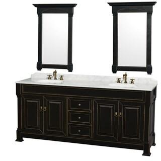 Wyndham Collection Andover 80-inch Black UM Round Sink 24-inch Mirror Double Bathroom Vanity