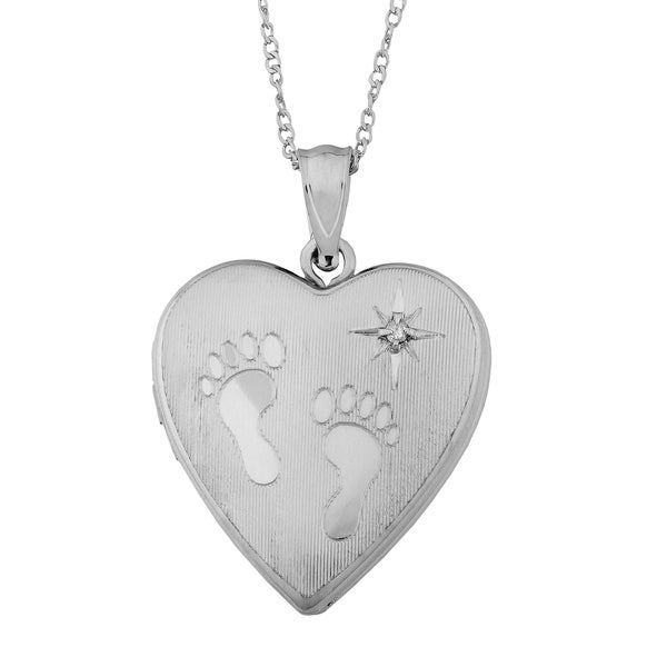 Fremada Rhodium Plated Sterling Silver Footprints Diamond Accent Locket Necklace (18 inch)