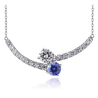ICZ Stonez Sterling Silver Blue and White Cubic Zirconia Twist Necklace