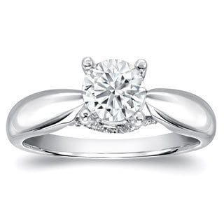 Auriya 14k White Gold 1ct TDW Round Diamond Solitaire Ring (H-I, SI1-SI2)