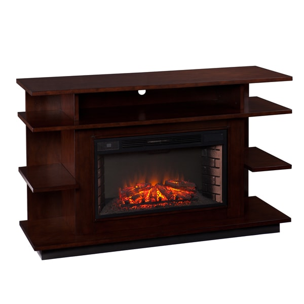 Upton Home Wellman Espresso/Ebony Stain Media Electric Fireplace