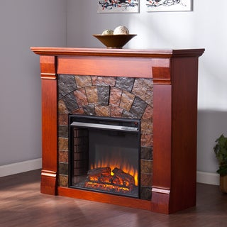 Upton Home Wixon Mahogany Electric Fireplace