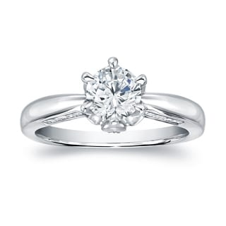 Auriya 14k White Gold 1ct TDW Certified Round Diamond Engagement Ring (H-I, SI1-SI2)