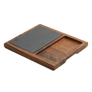 Woodard & Charles Acacia Wood and Slate 12-Inch Cheese Board