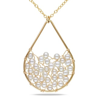 Miadora 14k Gold Filled Freshwater White Pearl Necklace (3.5-4 mm)