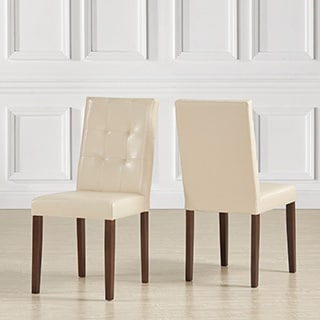 Shermer Tufted Bonded Leather Classic Side Chairs (Set of 2)