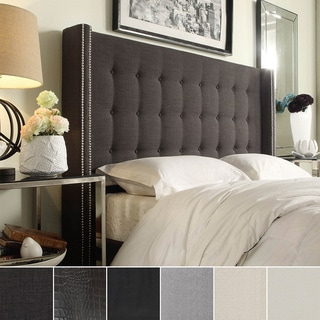 INSPIRE Q Marion Nailhead Wingback Tufted King-sized Headboard