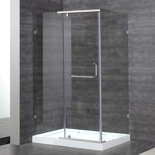 Aston 48-in x 35-in x 77.5-in Semi-Frameless Shower Enclosure in Stainless Steel with Base