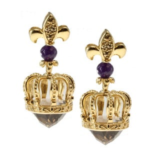 Dallas Prince Sterling Silver Smokey Quartz, Amethyst and Marcasite Earrings