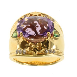 Dallas Prince Amethyst Chrome Diopside and White Sapphire Ring