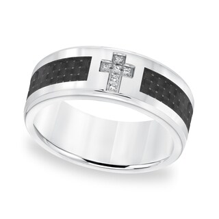 Cambridge Stainless Steel and Carbon Fiber Diamond Accent Ring
