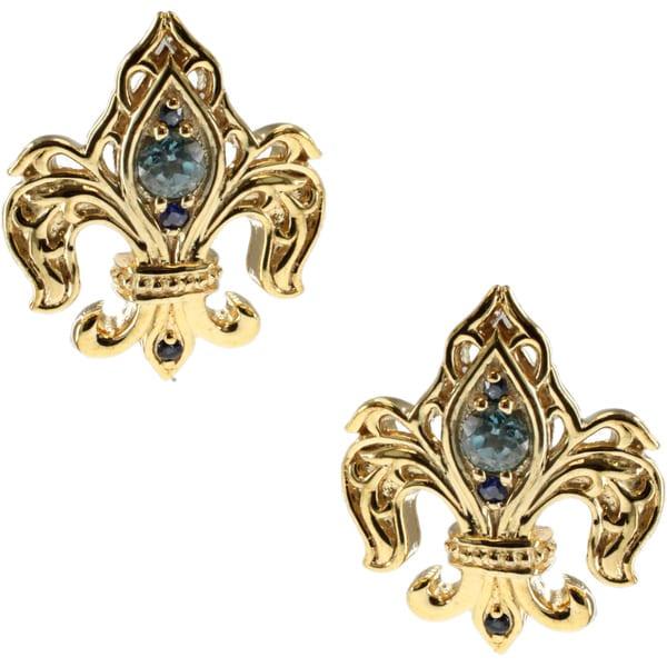 Dallas Prince London Blue Topaz and Blue Sapphire Earrings