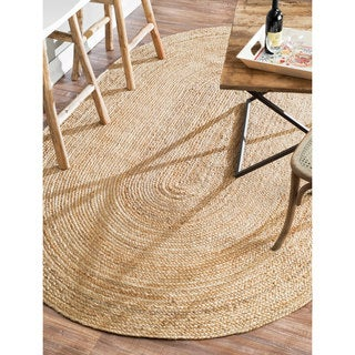 nuLOOM Alexa Eco Natural Fiber Braided Reversible Jute Rug (6' x 9' Oval)
